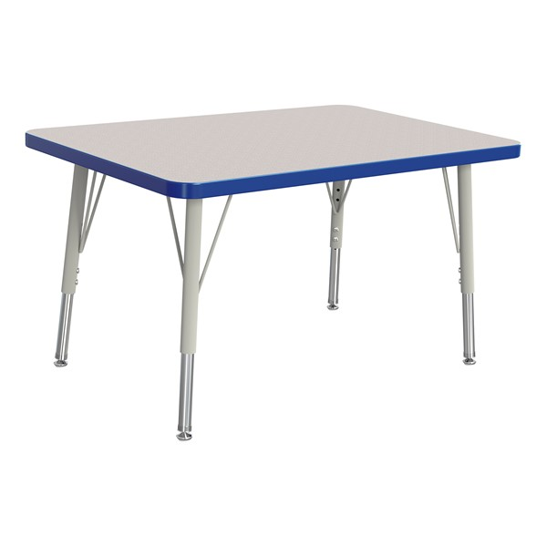 """Rectangle Rainbow Accents Activity Table (24"""" W x 36"""" L) - Blue edge band, legs & swivel glides"""
