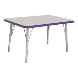 "Rectangle Rainbow Accents Activity Table (24"" W x 36"" L) - Purple edge band, legs & swivel glides"