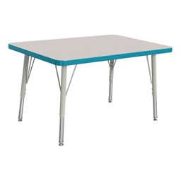 """Rectangle Rainbow Accents Activity Table (24"""" W x 36"""" L) - Teal edge band, legs & swivel glides"""