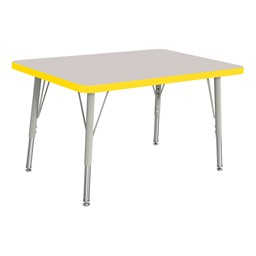 """Rectangle Rainbow Accents Activity Table (24"""" W x 36"""" L) - Yellow edge band, legs & swivel glides"""