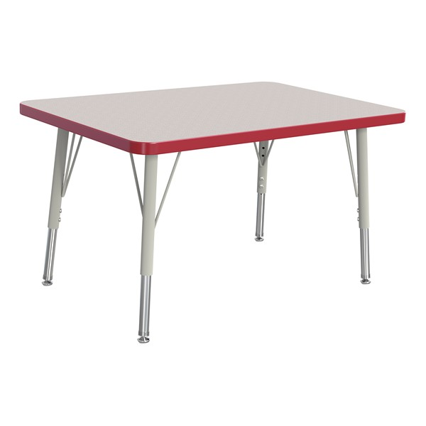 """Rectangle Rainbow Accents Activity Table (24"""" W x 36"""" L) - Red edge band, legs & swivel glides"""