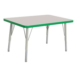 """Rectangle Rainbow Accents Activity Table (24"""" W x 36"""" L) - Green edge band, legs & swivel glides"""