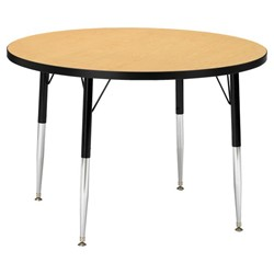 Round Preschool Activity Table - Oak top & black edge band, legs & swivel glides