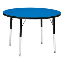 Round Preschool Activity Table - Blue top & black edge band, legs & swivel glides
