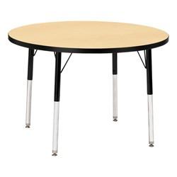Round Preschool Activity Table - Maple top & black edge band, legs & swivel glides