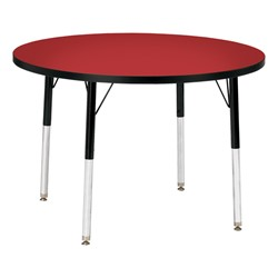Round Preschool Activity Table - Red top & black edge band, legs & swivel glides