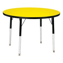 Round Preschool Activity Table - Yellow top & black edge band, legs & swivel glides
