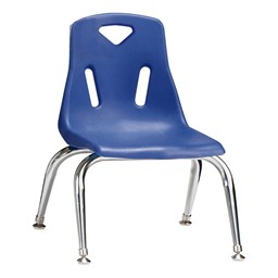 "Stackable School Chair w/ Chrome Legs (10"" Seat Height) - Blue"