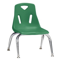 "Stackable School Chair w/ Chrome Legs (10"" Seat Height) - Green"