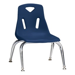 "Stackable School Chair w/ Chrome Legs (10"" Seat Height) - Navy"