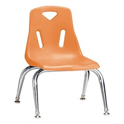 "Stackable School Chair w/ Chrome Legs (10"" Seat Height) - Orange"
