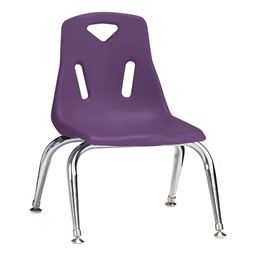 "Stackable School Chair w/ Chrome Legs (10"" Seat Height) - Purple"