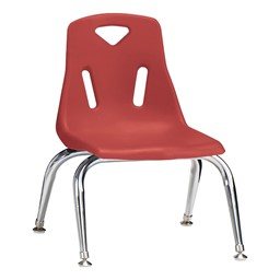 "Stackable School Chair w/ Chrome Legs (10"" Seat Height) - Red"
