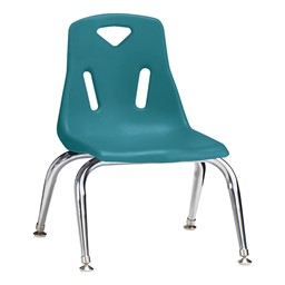 "Stackable School Chair w/ Chrome Legs (10"" Seat Height) - Teal"