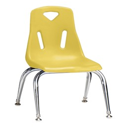 "Stackable School Chair w/ Chrome Legs (10"" Seat Height) - Yellow"