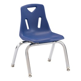 "Stackable School Chair w/ Chrome Legs (12"" Seat Height) - Blue"