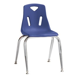 """Stackable School Chair w/ Chrome Legs (14\"""" Seat Height) - Blue"""