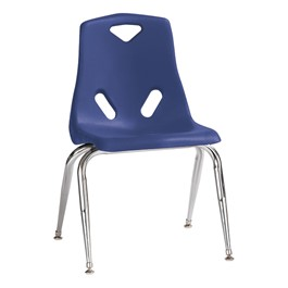 """Stackable School Chair w/ Chrome Legs (16\"""" Seat Height) - Blue"""