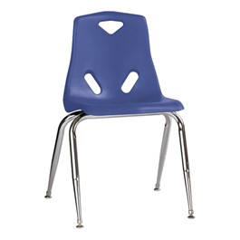 """Stackable School Chair w/ Chrome Legs (18\"""" Seat Height) - Blue"""