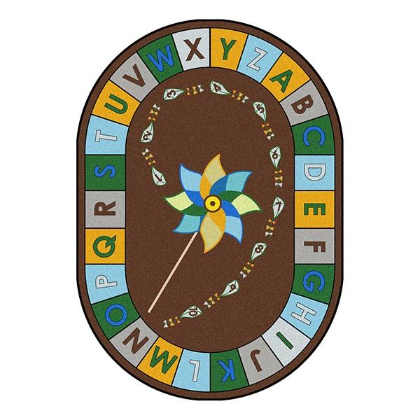 "Alphabet Pinwheel Rug - Oval (10' 9"" W x 13' 2"" L) - Earth Tone"