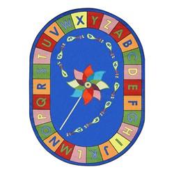 "Alphabet Pinwheel Rug - Oval (5' 4"" W x 7' 8"" L) - Primary"