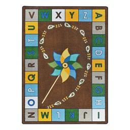 "Alphabet Pinwheel Rug - Rectangle (5' 4"" W x 7' 8"" L) - Earth Tone"