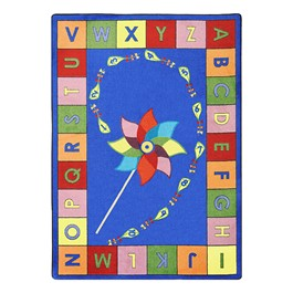"Alphabet Pinwheel Rug - Rectangle (5\' 4"" W x 7\' 8\"" L) - Primary"