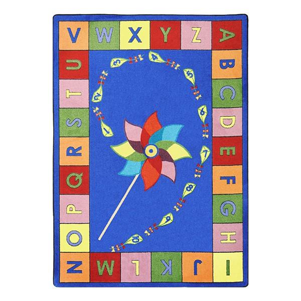 """Alphabet Pinwheel Rug - Rectangle (5' 4"""" W x 7' 8"""" L) - Primary"""