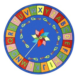 "Alphabet Pinwheel Rug - Round (13\' 2\"" Diameter) - Primary"