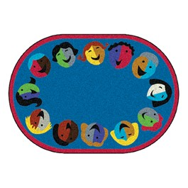 Joyful Faces Rug - Circle Seating Design - Oval - Blue w/ red border