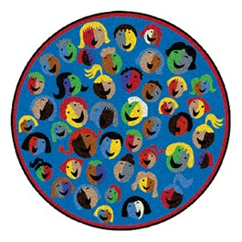 Joyful Faces Rug - Round - Blue w/ red border