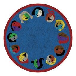 Joyful Faces Rug - Circle Seating Design - Round - Blue w/ red border