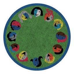 Joyful Faces Rug - Circle Seating Design - Round - Green w/ blue border