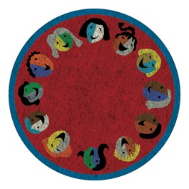 Joyful Faces Rug - Circle Seating Design - Round - Red w/ blue border