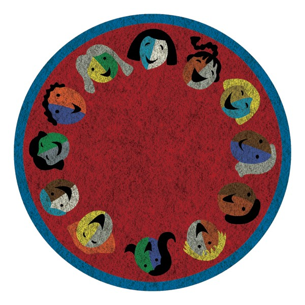 Joyful Faces Rug - Circle Seating Design - Round - Red w/ blue border