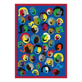 Joyful Faces Rug - Rectangle - Blue w/ red border