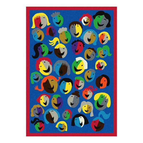 Joyful Faces Rug - Rectangle - Blue w/ red border