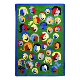 Joyful Faces Rug - Rectangle - Green w/ blue border