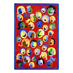 Joyful Faces Rug - Rectangle - Red w/ blue border