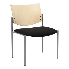 1300 Series Wood Back Stack Chair w/ out Arms - Silver frame, black fabric & natural finish