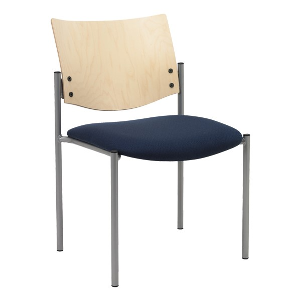 1300 Series Wood Back Stack Chair w/ out Arms - Silver frame, navy fabric & natural finish