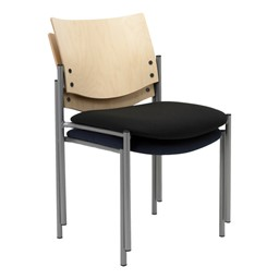 1300 Series Wood Back Stack Chair w/ out Arms - Shown stacked