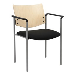 1300 Series Wood Back Stack Chair w/ Arms - Silver frame, black fabric & natural finish