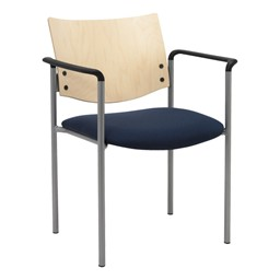 1300 Series Wood Back Stack Chair w/ Arms - Silver frame, navy fabric & natural finish