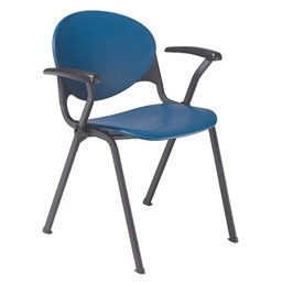 2000 Series Stack Chair shown w/ Arms - Navy Blue