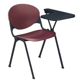 Series 2000 Stack Chair w/ Tablet Arm - Shown w/ burgundy chair, left-handed tablet arm