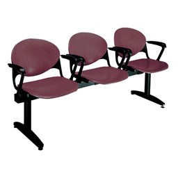 2000 Series Beam Seating – Three Seats shown w/ optional side arms - Burgundy