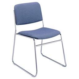 300 Stacking Chair w/out Arm Rests - Fabric Upholstered Seat - Denim
