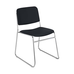 300 Stack Chair w/out Arm Rests - Vinyl Upholstered Seat - Black