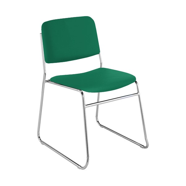 300 Stack Chair w/out Arm Rests - Vinyl Upholstered Seat - Primary Green